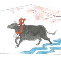 令和3年の干支 丑(うし)を描いた絵馬を制作